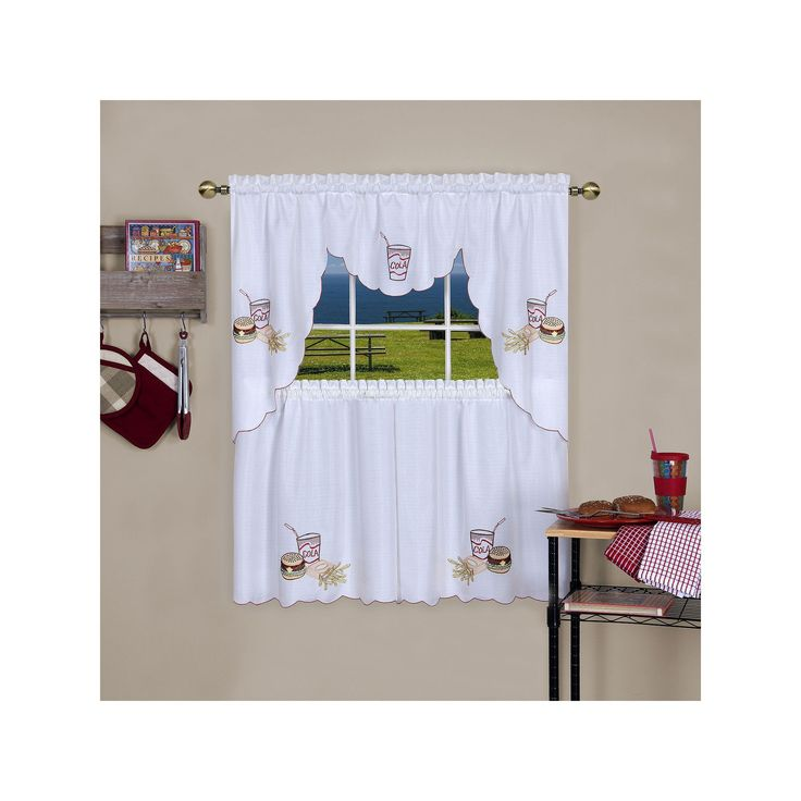 Achim Fast Food Tier & Swag Kitchen Curtain Set, Multicolor