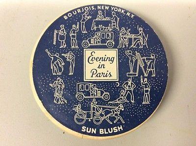 Vintage Evening In Paris Sun Blush BOURJOIS NY USA Cardboard Metal Graphics  | eBay