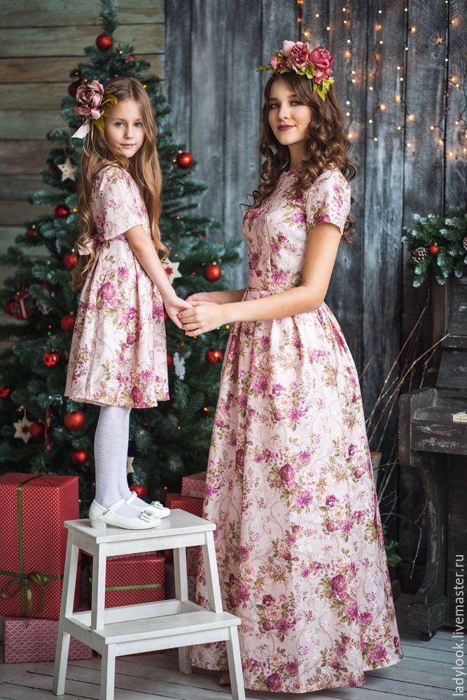 Купить Комплект Family Look № 110 - платье, платье летнее, романтический стиль, романтичное
