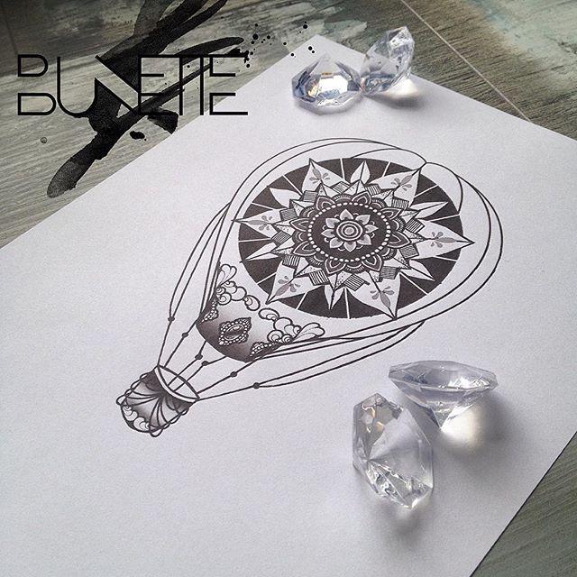 #mandala #mandalatattoo #airballoon #hotairballoon #airballontattoo #bunette #tattoosdesign #ribtattoo #thightattoo