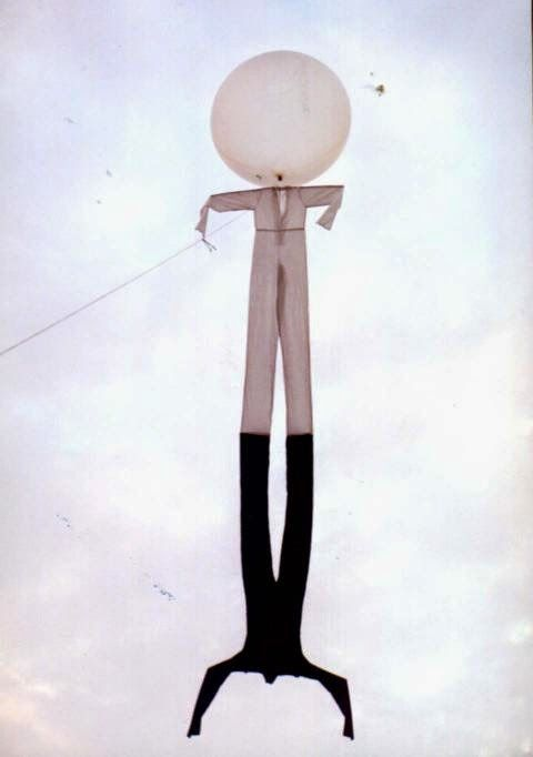 Maurizio ,   The white and  the shadow, aerial installation, cloth, metal frame, giant balloon, helium. Photo Bob Witten.