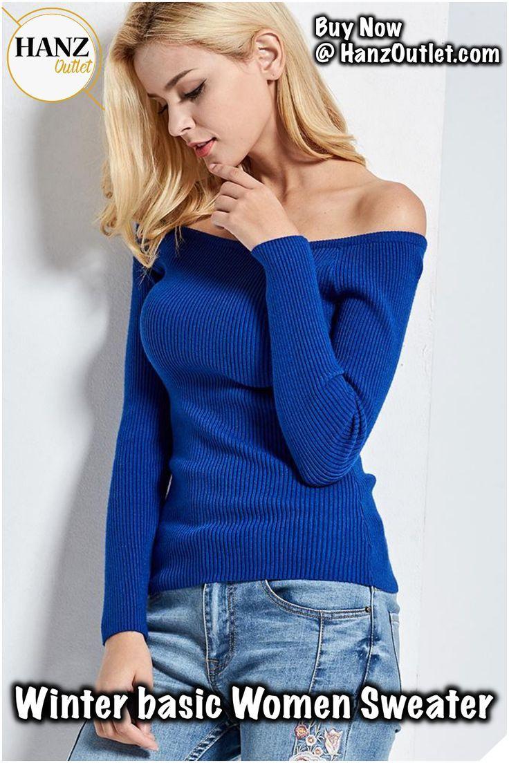 4f6e8dd64f342 Autumn and Winter basic Women Sweater slit neckline Strapless Sweater  thickening sweater top thread slim C0320