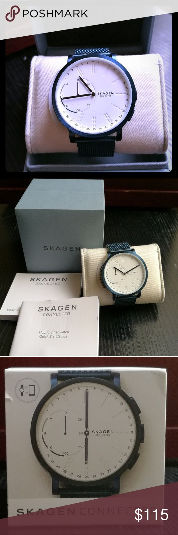 Skagen Connected Hybrid Smartwatch NWT Tracks activity and sleep patterns.   Does show phone notifications from the ABC dial on left side. Section will light up with a notification. Works with the Skagen Connected app (available in Google play and Apple App store).   Specs:  - 42mm case; 20mm band width - Fold-over clasp closure - Three-hand quartz movement - Day and date function - Android 4.4+, IOS 8+ and iPhone 5+ compatible - Bluetooth enabled Skagen Accessories Watches