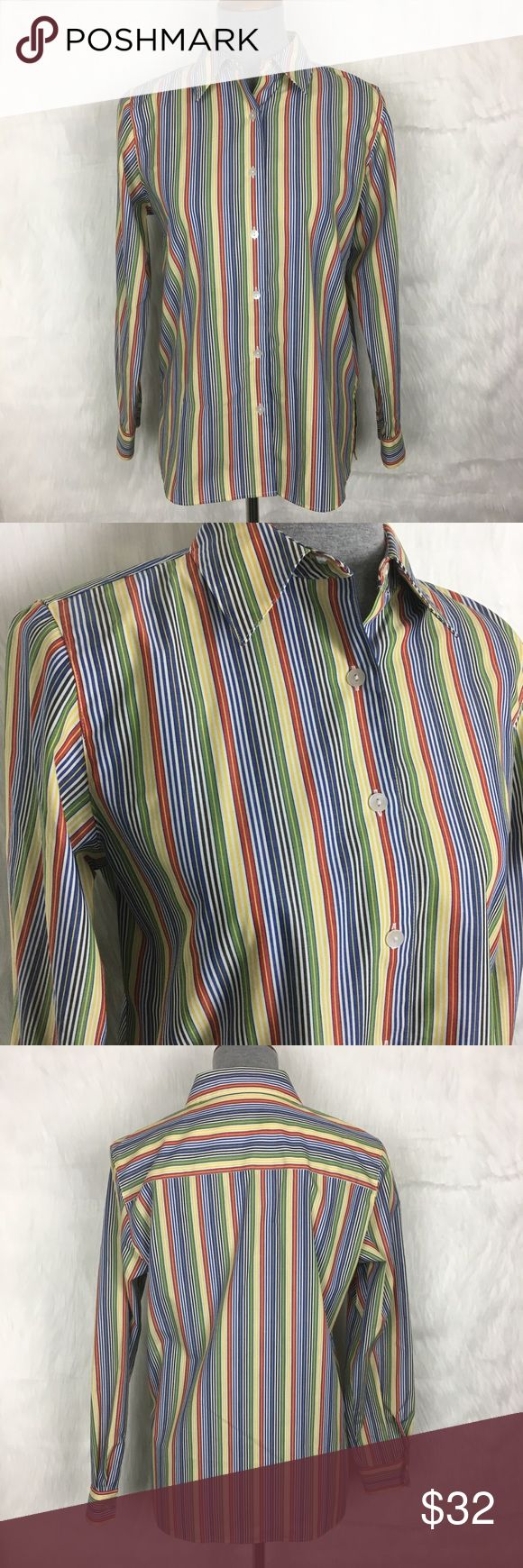 """Foxcroft No Wrinkle Stripe Multi Color Button Down foxcroft wrinkle free stripe button down blouse. multi color rainbow palette. the fit is oversized, perfect to tuck in to trousers / jeans. fashion forward career wear!  size: 6 petite measurements: bust 20"""" across / waist 19.5"""" across / length 25"""" / sleeeve inseam 18"""" fabric content: 60% cotton, 40% polyester flaws: none mannequin's measurements: 34-26-35 discounts: 10% off bundles of 2 items and 15% off bundles of 3+ items Foxcroft Tops…"""