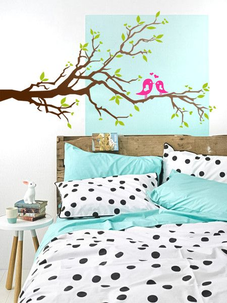 Great LOVE BIRDS TREE Wandsticker V gel Baum Herzen