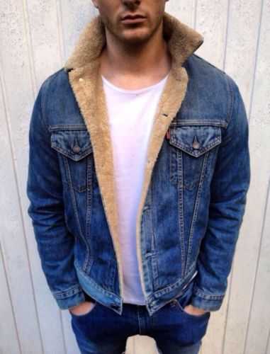 Mens-VINTAGE-Levis-Denim-Sherpa-Shearling-Borg-Fur-Lined-Jacket-Aviator-LARGE