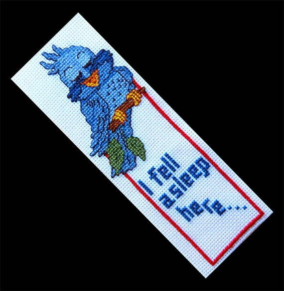 Blue Bird Bookmark Counted Cross Stitch by FunStuff62 on Etsy, $5.50