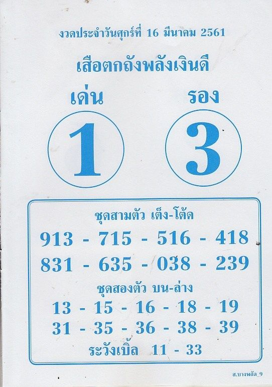 Thai Lotto Free Sure Touch Number Paper Tips 16 03 2018