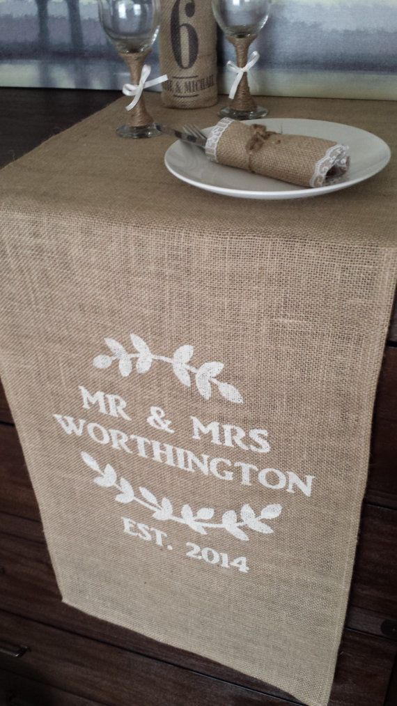 Personalized handmade burlap wedding table runner.