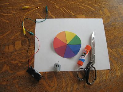 Almost Unschoolers: Motorized Rainbow Spinners - More Fun With Light and Color for Children.  In this one you bed the colors back into white.  I wonder if we have the supplies we need for this in our Snap Circuits set?
