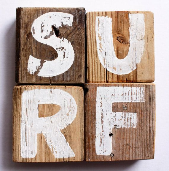 Surf Sign on Reclaimed Distressed Wood Beach Art Surf by mangoseed