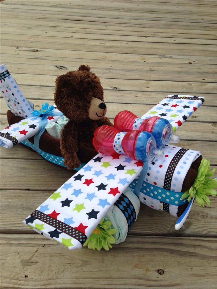 Teddy Bear Airplane Diaper Cake