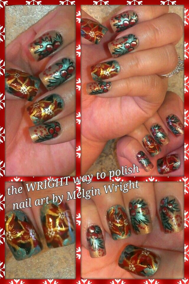 Christmas poinsettias and holly- Hand Painted with Nail polish and acrylic paint by Melgin Wright  http://www.facebook.com/TheWrightWayToPolishNailArtByMelginWright  http://pinterest.com/melginswright/boards/