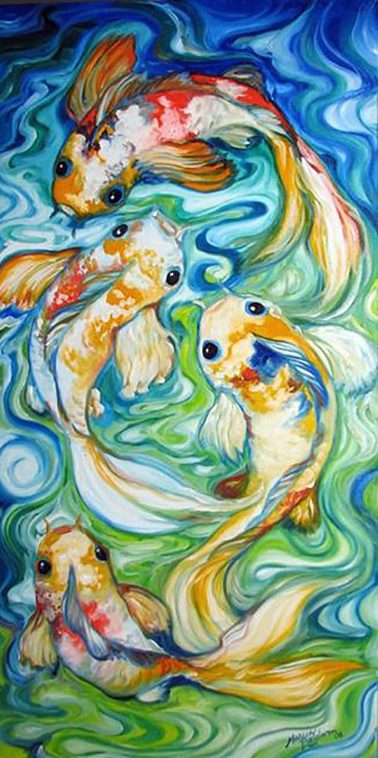 15 best watercolour fish images on pinterest for Koi pool paint