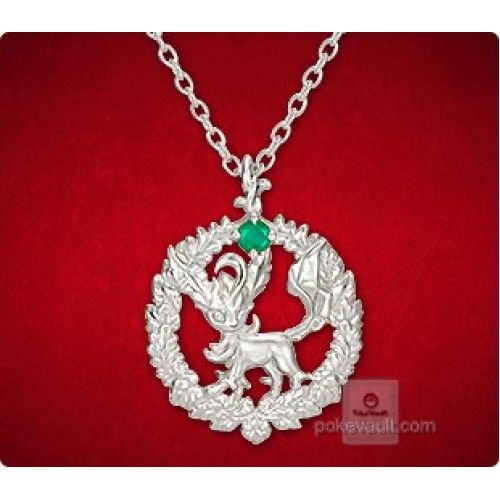 Pokemon Center 2015 Leafeon Wreath Pendant Necklace With Emerald Stone PRE-ORDER AUGUST 2015