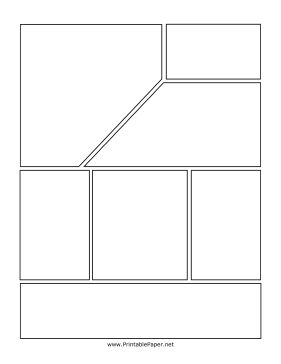If you need a page for your graphic novel that has lots of smaller boxes without losing visual interest, this page may be right for your project. This page includes seven boxes of different sizes, creating the potential for many storytelling tactics. Free to download and print