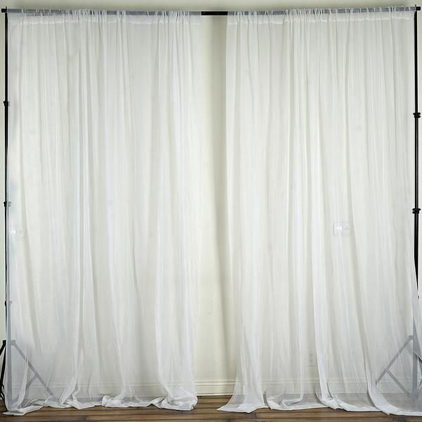 Pack Of 2 5ftx10ft White Fire Retardant Sheer Organza Premium
