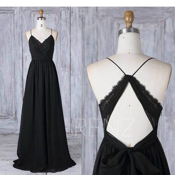 Bridesmaid Dress Black Chiffon Dress, Wedding Dress, V Neck Maxi Dress, Criss Cross Straps A-Line Party Dress, Open Back Lace Prom Dress (L399)