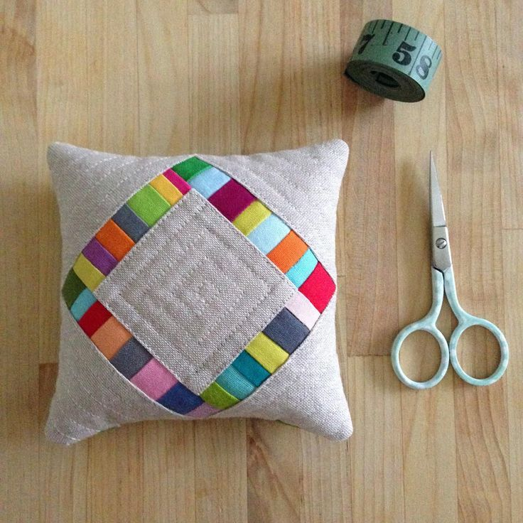 """this pincushion was modeled after my diamond pillow pattern. It's about 4 1/2"" square! hurray for sanity sewing! #thepincushionproject #useitall…"""