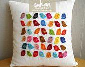 Sukan colori uccelli lino cuscino copertura 14x14 cuscino personalizzato - cuscini di lino bianco - uccello federa - uccello cuscini - bianco lino