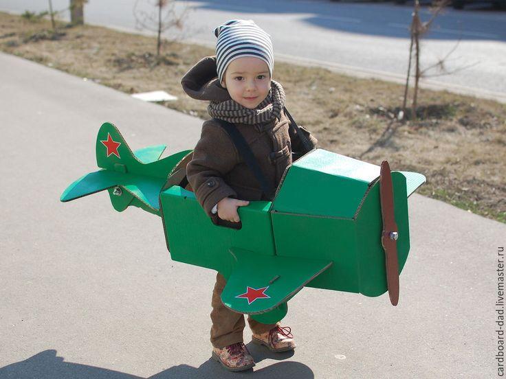 Купить Картонный самолет - игрушка, самолет, подарок, бежевый, мальчику, гофрокартон, Болты и гайки, наклейки