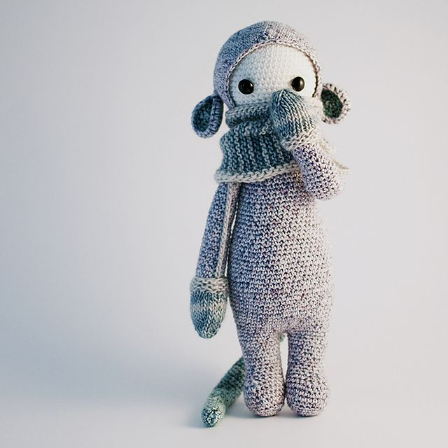 lalylala doll with knitted coll and mittens. fab!