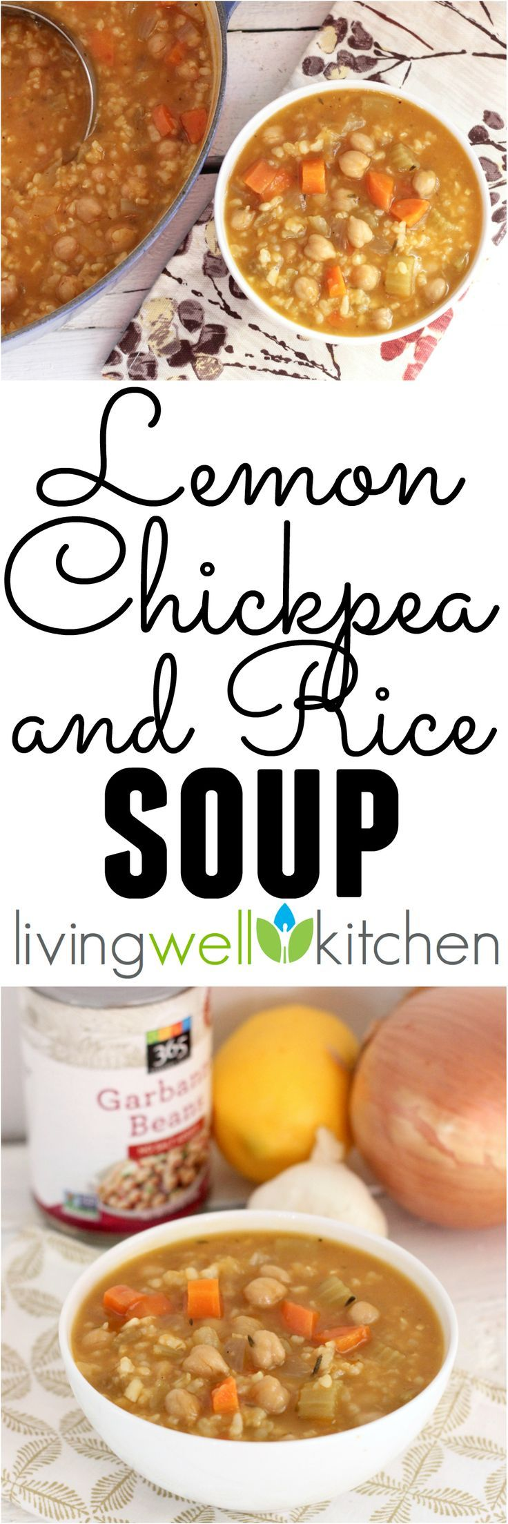 A tasty, budget friendly soup that's vegan, freezes well and makes everyone happy! Lemon Chickpea and Rice Soup recipe from @memeinge