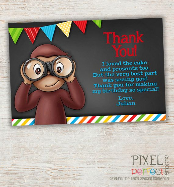 17 Best images about Curious George Birthday Invitations Thank – Curious George Birthday Cards