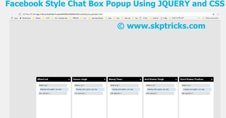 Today we are going to discuss how to createfacebook style chat box popup box using HTML and CSS. Here we have implemented and provided simple example for facebook style chat box popup and layout design for the chat box is way more easier and simple. You can easily use and integrate this example in your websites. We have used Fixed position property of css to display the chat box one after another by this way it will not effect the other css layout design.  Feature for this chat box popup…