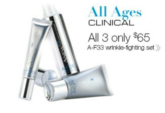 Anew Clinical Famous AF-33 Skin Care Set.All 3 peices for the price of 1 WOW girls. Only $65. This is a while stocks last only girls GRAB ONE SET TODAY & Register with Avons VIP Club.  shop.avon.com.au/store/carey