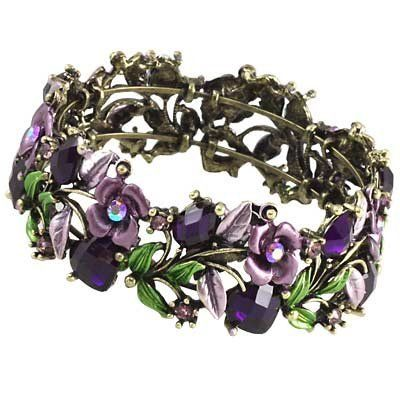 "Purple Flower Cuff Bangle Bracelet / Crystal Beads & Stones / Width: 1"" / Nickel & Lead Free Lamont. $9.95. Comes in a Gift Box. Brand New Beautiful Antique Looking Cuff Bangle Bracelet"