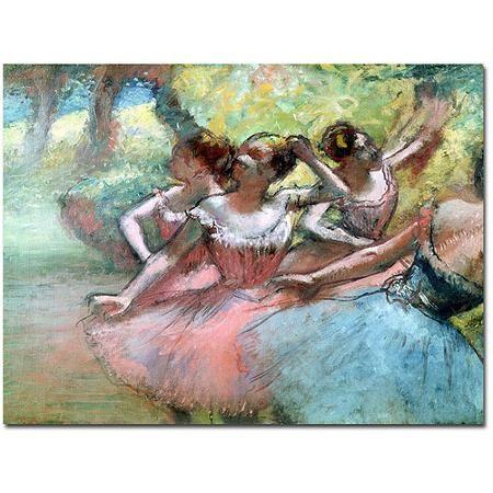 "Trademark Art ""Four Ballerinas on the Stage"" Canvas Art by Edgar Degas"