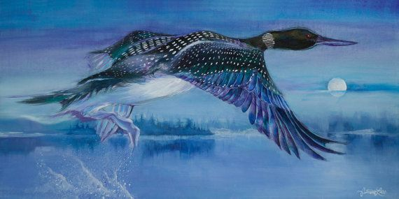 Soaring Loon on a Moonlit Lake Giclee on by MysticalWoodsStudio