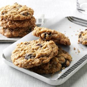 Chewy Good Oatmeal Cookies Recipe -Here's a great oatmeal cookie with all my favorite extras: dried cherries, white chocolate chips and macadamia nuts. —Sandy Harz, Grand Haven, Michigan