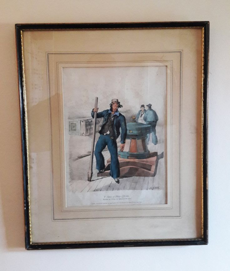 Original Rare Large Framed and Mounted Antique Hand Tinted Lithograph - 'Costumes of the British Navy' - 1828 by RAVERETRO on Etsy