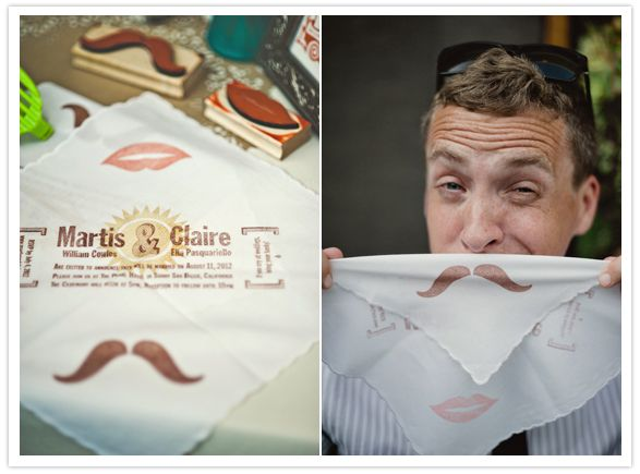 The highlight of their wedding invitations were these tea stained hankys. The graphics were hand stamped with custom rubber stamps and each hanky was wrapped around a linen postcard reply card that was customized for each guest's home state or city.custom stamped mustache and mouth handkerchief