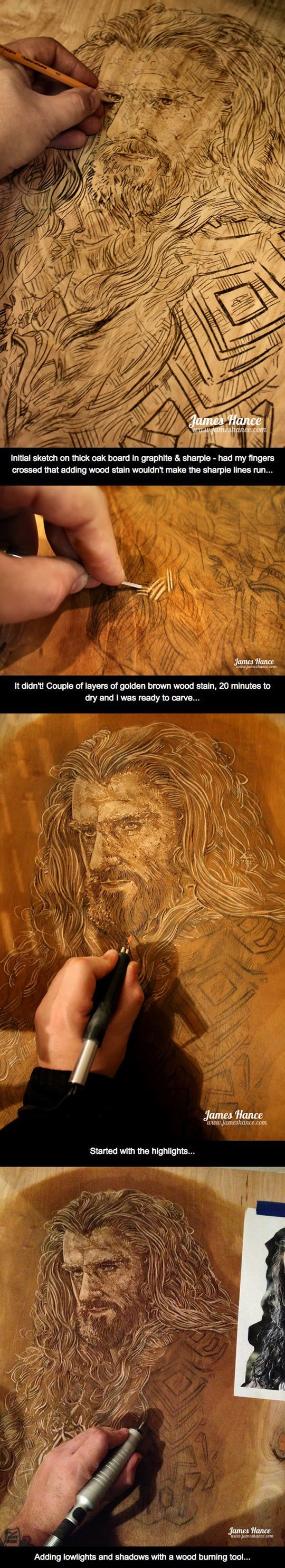 Combining Pyrography, carving, and stain - Oakenshield... carved in oak