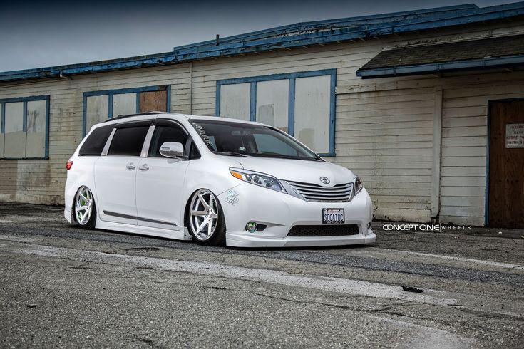 Dropped White Toyota Sienna Rolling On Custom Concept One Wheels Toyota Sienna Toyota Toyota Van