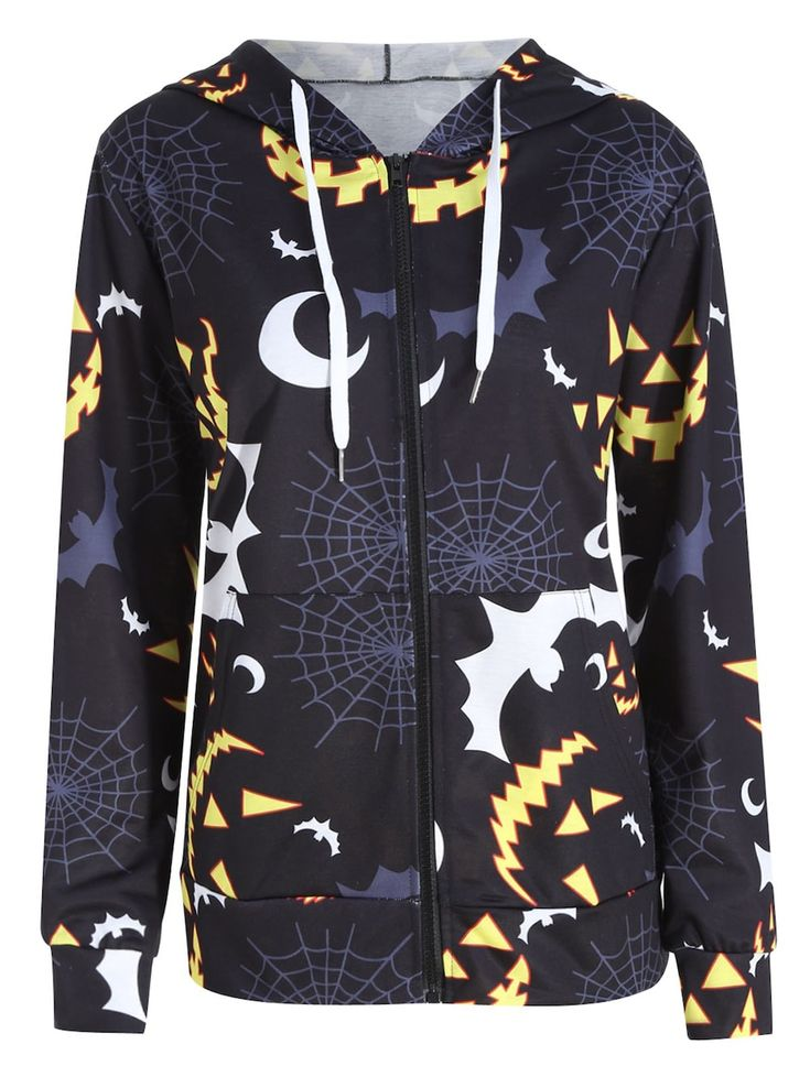 Plus Size Halloween Bat Pumpkin Printed Zip Hooded Jacket - BLACK 3XL