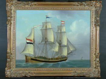 Driemastgaljoot De Hersteller, in 1818 gebouwd op de werf van Jan Schouten te Dordrecht Collectie Maritiem Museum Rotterdam
