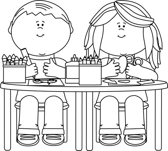 clip art black and white | Black and White Kids in Art Class Clip Art - Black and White Kids in ...