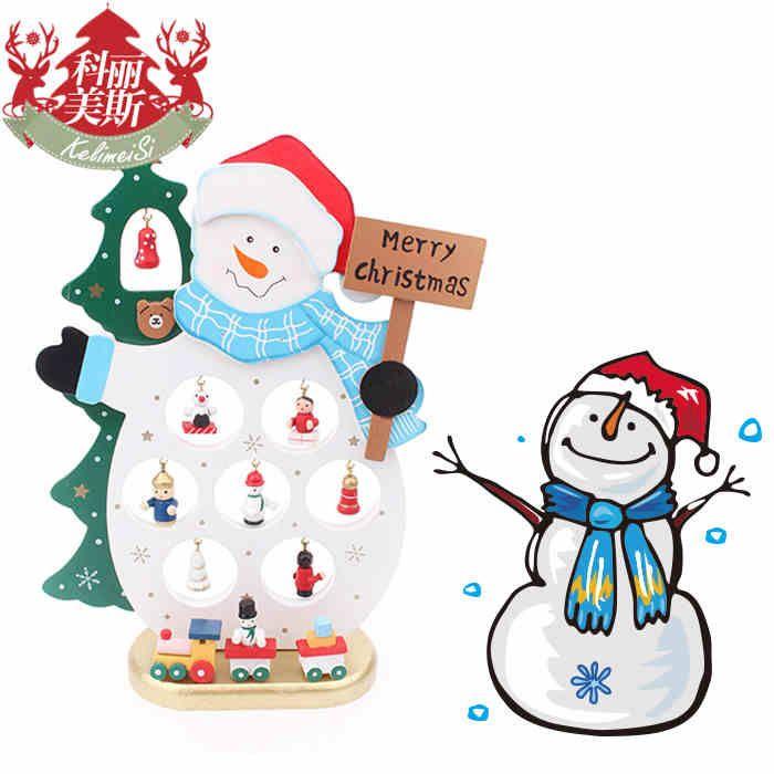 Окно отображения Рождественские украшения снеговика украшения рабочего стола творческий подарок деревянная кукла пожилые люди Снеговик Снеговик -tmall.com Lynx