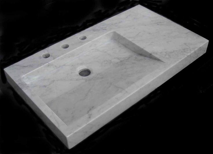 Lavabo de mármol en Blanco Carrara. Medidas (cm): 81x46x7 Peso (kg): 54 (Ref. LV0810003)    219,00 €