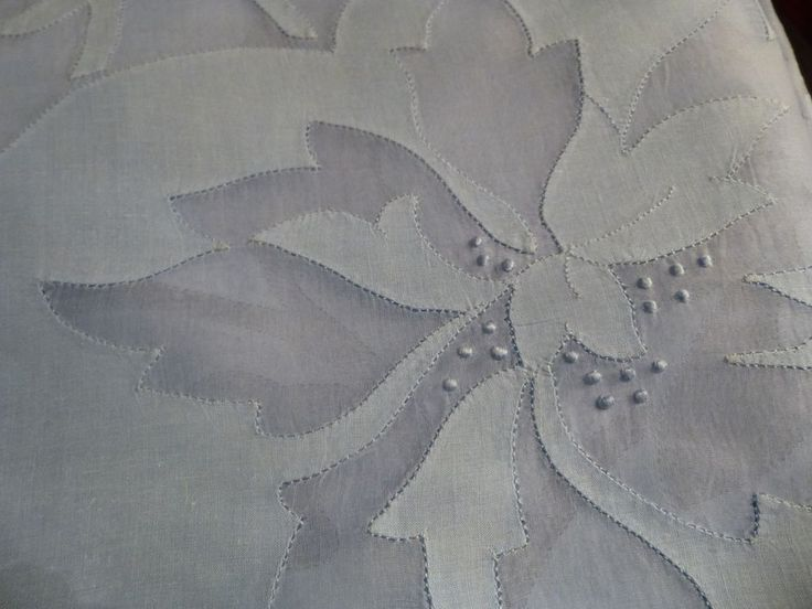 "Vintage Madeira Organdy Linen Banquet Tablecloth Blue Floral Applique 68""x 136"""