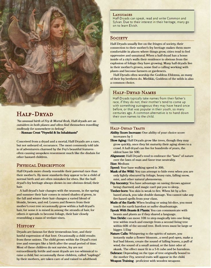 Half-Dryad inc. 6 variants [Race] [5e] - Album on Imgur