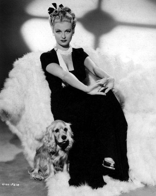 Joan Bennett and her Cocker Spaniel