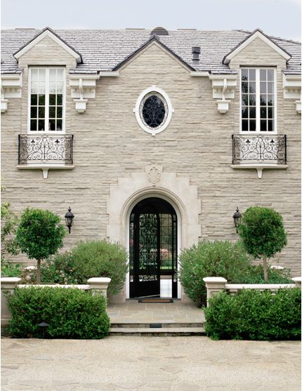 Fantastic Classic Stone House Facade Glass And Wrought