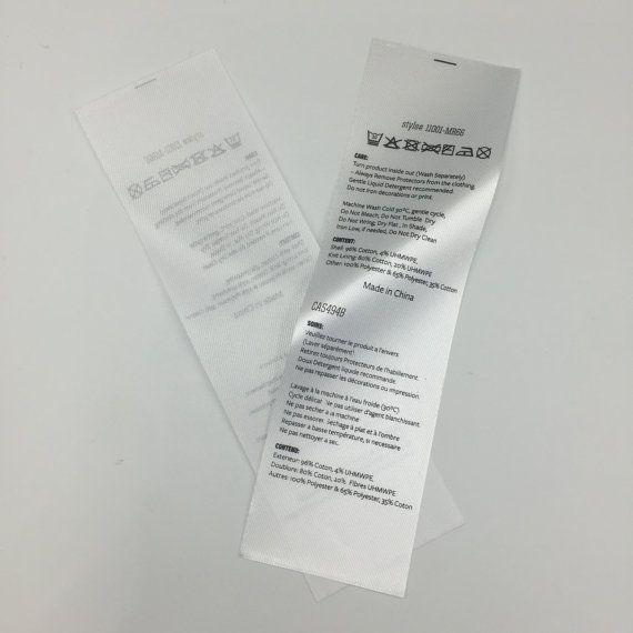 150 etichette stampate abitudine tessuto, raso piegato Care Label, nero stampato su raso bianco