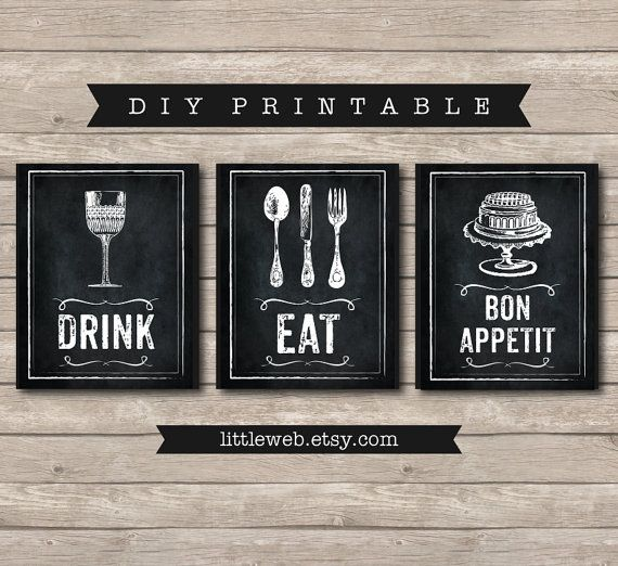 Awesome Eat, Drink And Bon Appetit Printables, Chalkboard Art Print, Kitchen Wine  Food Art