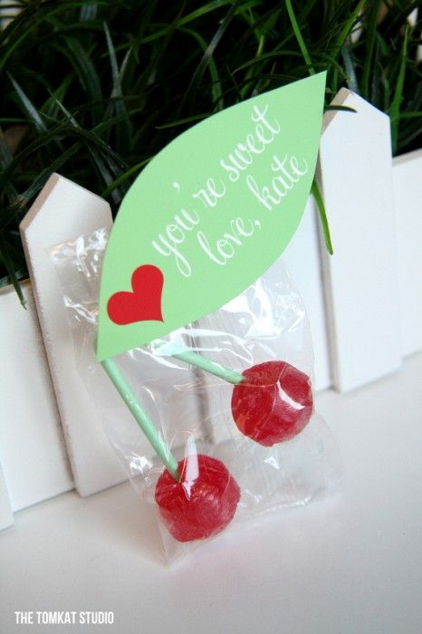 Cherry Lollipop Valentines via TomKat Studio